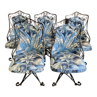 Vintage Antarenni Woodard Andalusian Style Iron Swivel Chairs With Tommy Bahama Indoor/Outdoor Fabric - Set of 5 For Sale