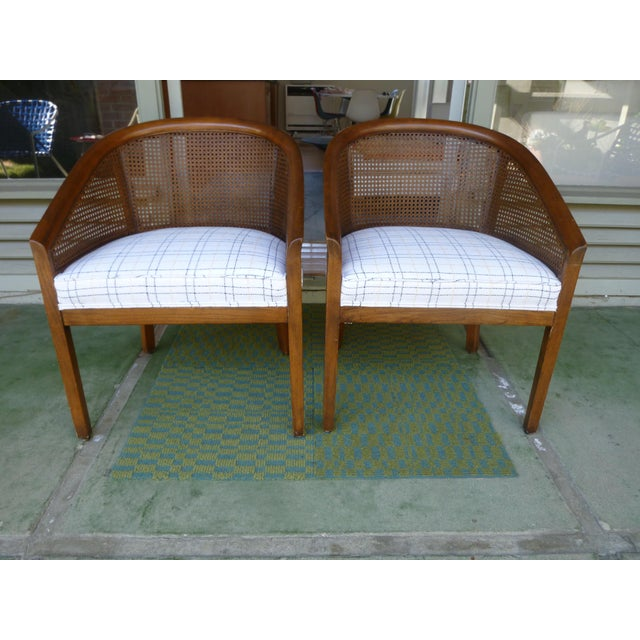 Beautiful pair of mid century cane chairs newly upholstered with high quality foam and fine cotton/ linen fabric - white...