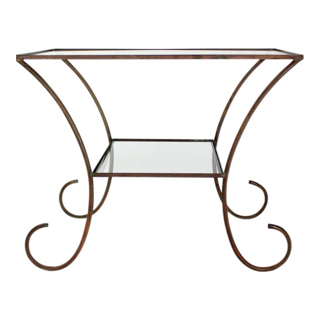 Deco Style Solid Brass Serving Console Hall Table circa 1930s For Sale