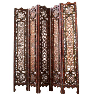 Vintage Hand Painted Moroccan Wood Screen Divider For Sale