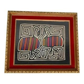 1960s Vintage Panama Mola Hand Sewn Folk Art Bird Motif Kuna Indian Textile For Sale