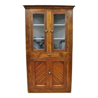 19th Century Antique Pine Wood Primitive Corner Cupboard For Sale