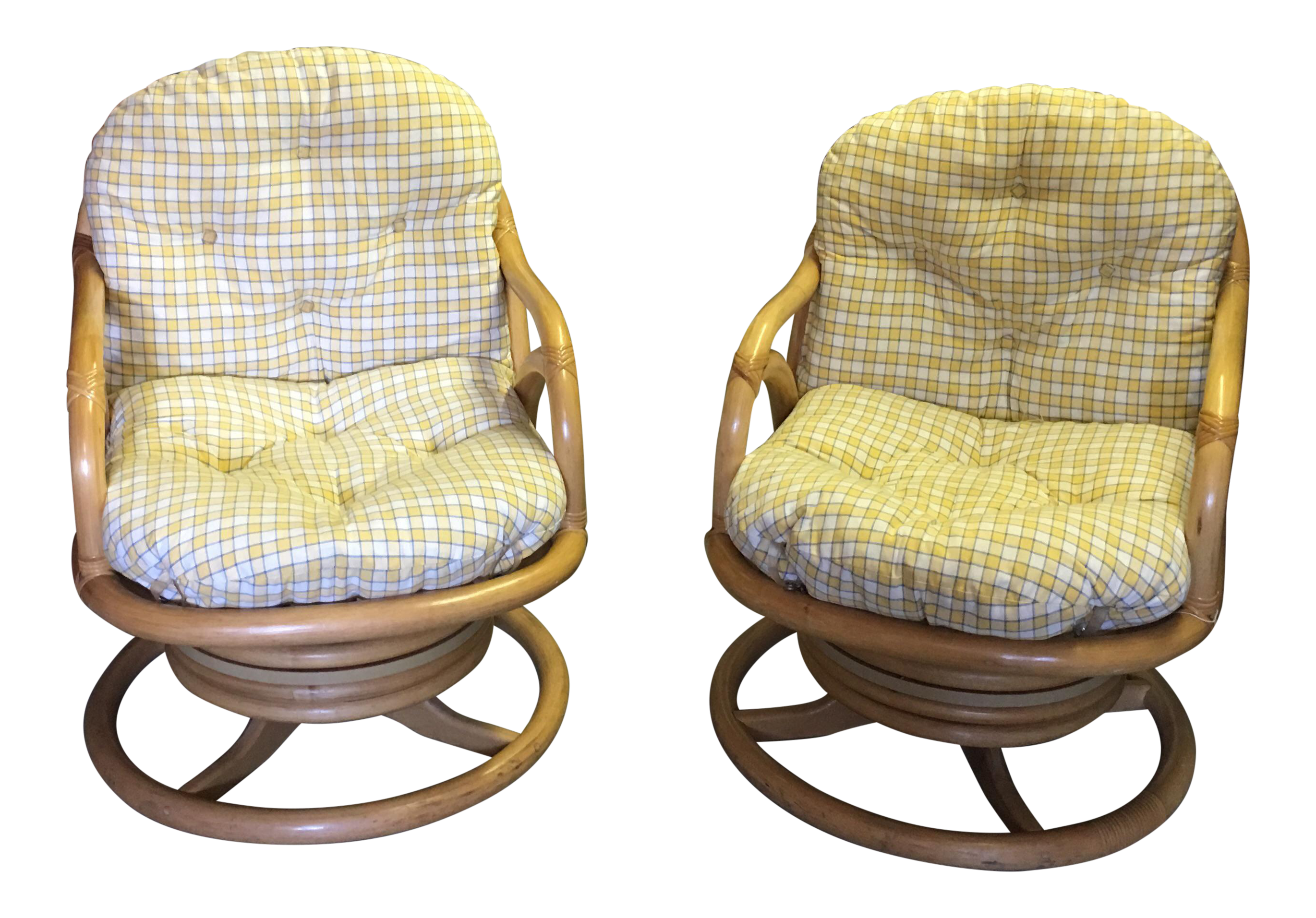 Pair Of Clarks Casual Vintage Bent Bamboo Swivel Chairs
