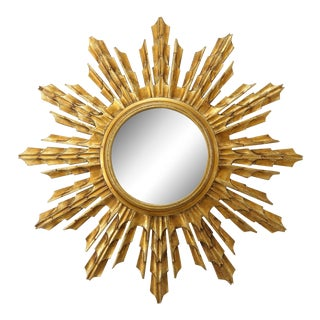 Early 20th Century Wooden Sunburst Mirror For Sale