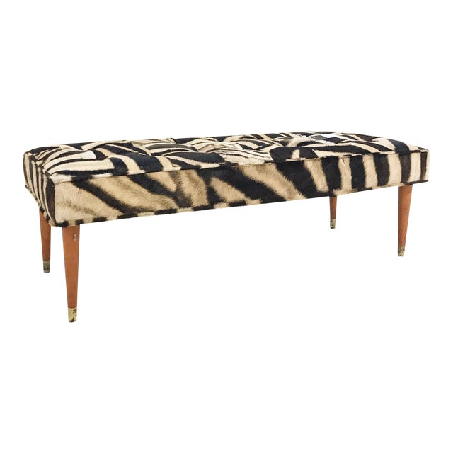 Vintage Milo Baughman Style Bench Restored in Patchwork Zebra Hide For Sale