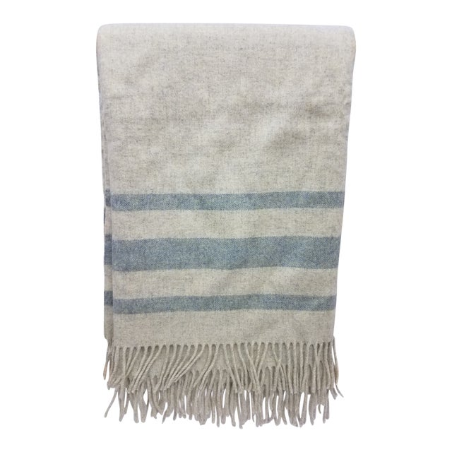 Merino Wool Throw Light Green With Darker Green Stripes - Made in England For Sale