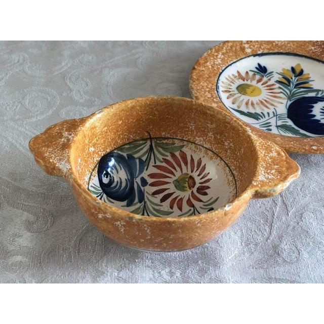 Henriot Quimper Henriot Quimper French Pottery Bowl & Plate Set For Sale - Image 4 of 13