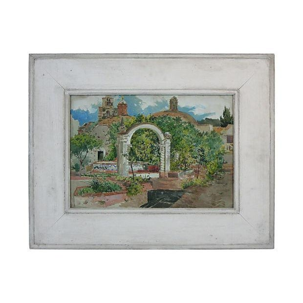 """A charming original watercolor of a Mexican plaza by Ross Turner. Signed lower left, """"Ross Turner, Mexico 1909."""" Displayed..."""