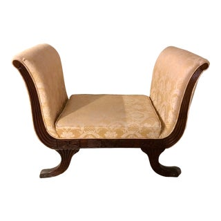 Vintage Silk Curved Bench For Sale