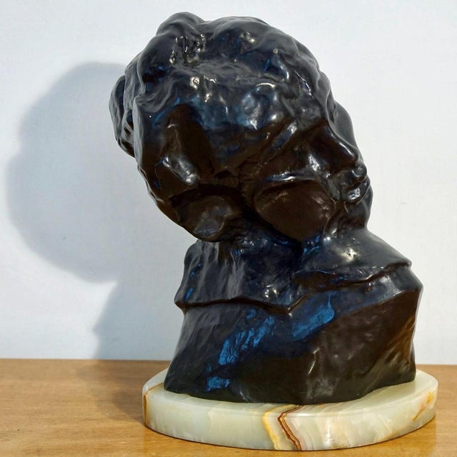 "1970s Figurative Bronze Sculpture Bust ""Head of Lust"" by A.Rodin For Sale In Los Angeles - Image 6 of 10"