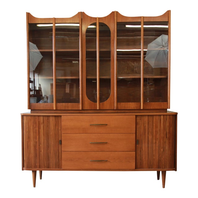 Mid-Century Modern Tambour Door Sideboard Credenza with Glass Front Hutch Top For Sale
