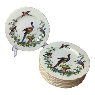 "1930s Traditional Copeland ""Fancy Bird"" Spode Plates - Set of 10"