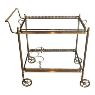 1940's Rolling Brass Bar Cart With Bottle Rack Attributed to Maison Jansen
