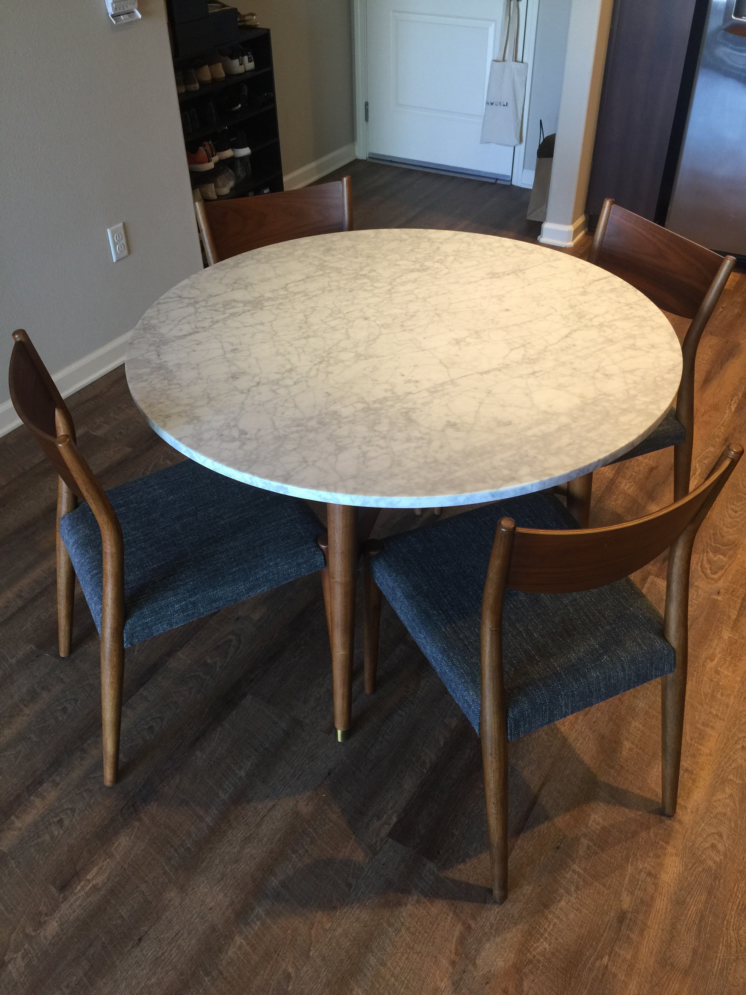 West Elm Reeve Mid Century Marble Dining Table Chairish