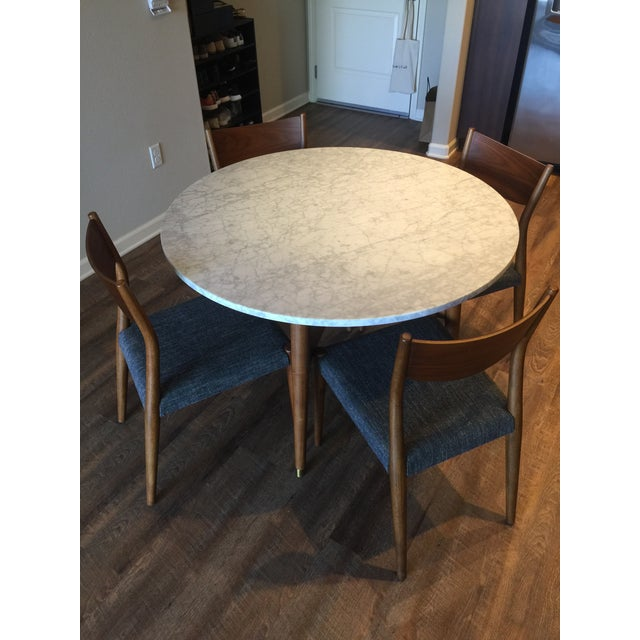 West Elm Reeve Mid Century Marble Dining Table Chairish - West elm marble dining table