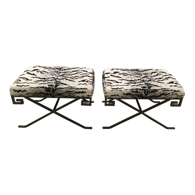 Benches With Schumacher Chenille Tiger Upholstery - A Pair - Image 1 of 5