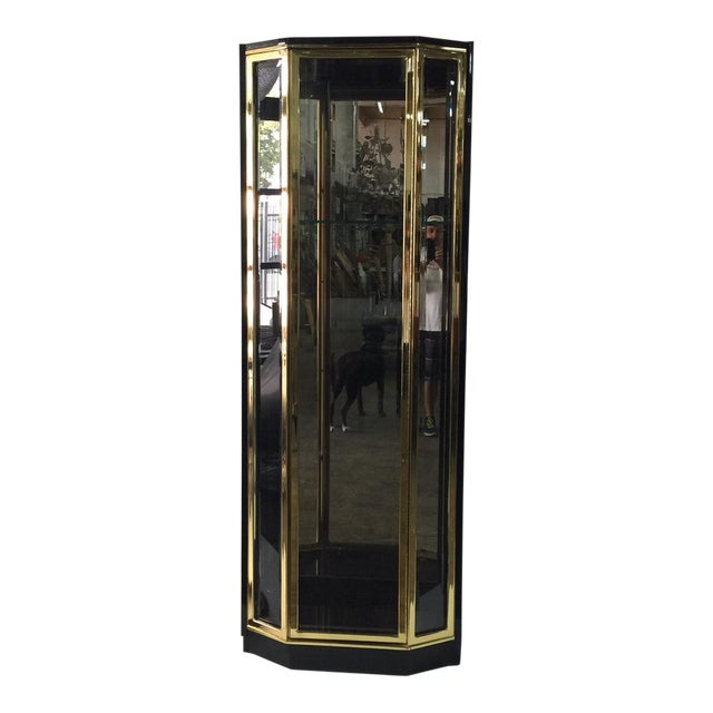 Brass Black Lacquered and Glazed Display Cabinet by Henredon For Sale - Image 7 of 7
