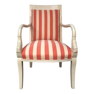 Georgian or Empire Style Figural Carved Armchair in Striped Fabric For Sale
