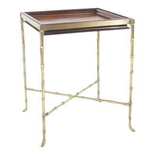 Faux Bamboo Brass and Wood Games Table For Sale