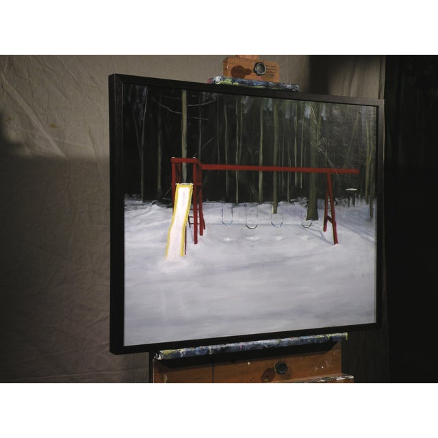 Landscape Painting Children's Swingset in Snow - Image 5 of 5