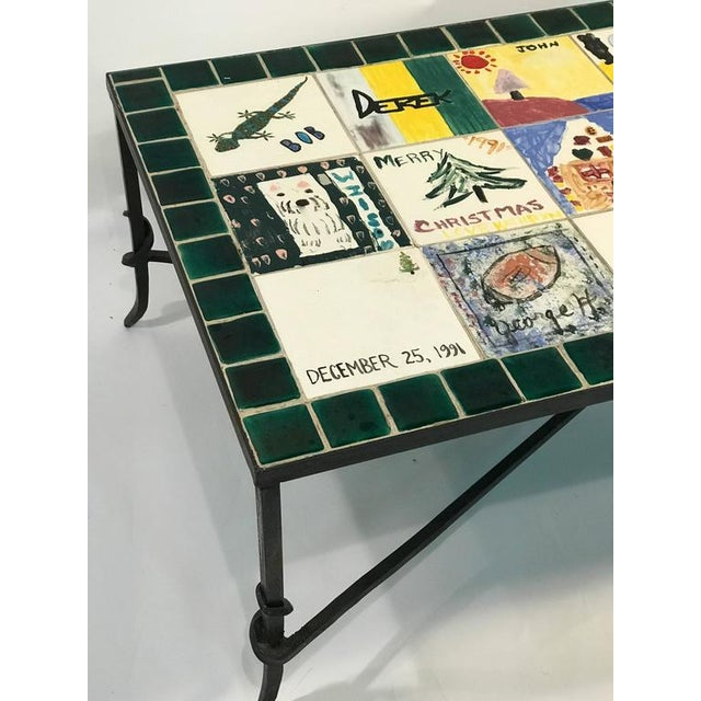 WHIMSICAL CERAMIC TILE TOP COFFEE TABLE WITH HAND-PAINTED NOSTALGIC SCENES For Sale - Image 5 of 8