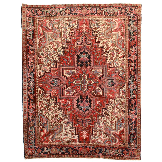 RugsinDallas Hand Knotted Wool Persian Heriz Rug - 7′ × 9′ For Sale