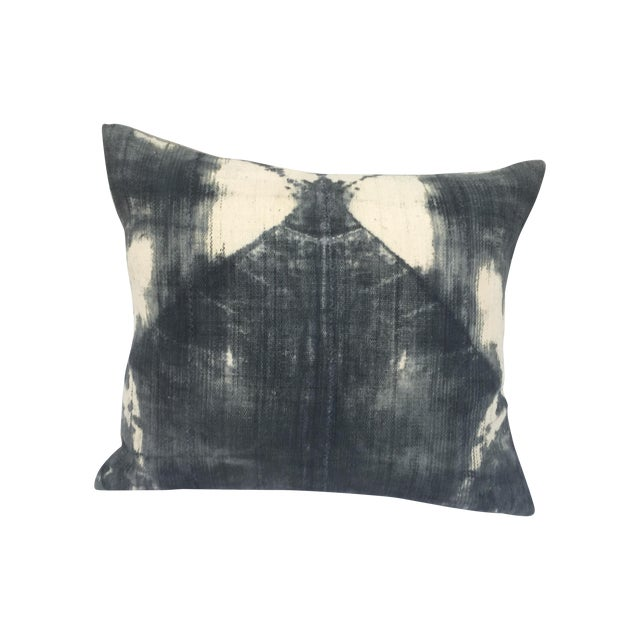 African Grey Tie-Dye Mud Cloth Pillow For Sale