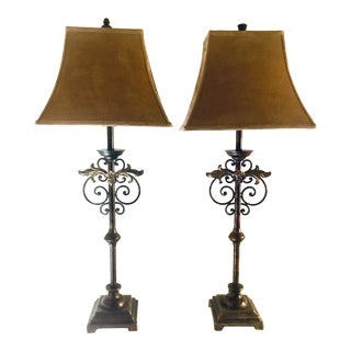 Wrought Metal Buffet/Table Lamps With Shades - a Pair For Sale