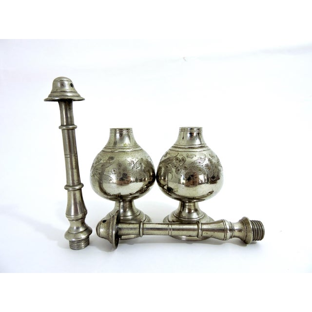 Antique Silver Plate Persian Incense Burners or Censers - a Pair For Sale - Image 4 of 6