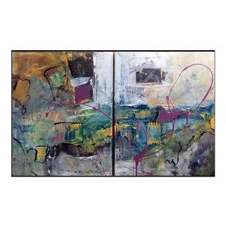 Diversion Contemporary Abstract Diptych Painting - 2 Pieces For Sale