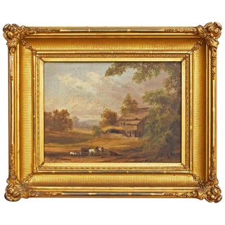 Hudson River School Painting in Original Gilt Frame For Sale