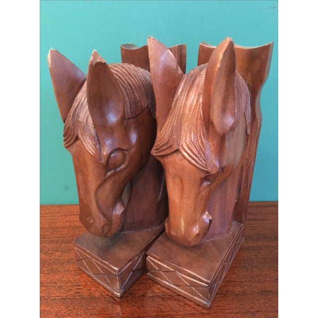 Vintage Wood Horsehead Bookends - A Pair - Image 4 of 7