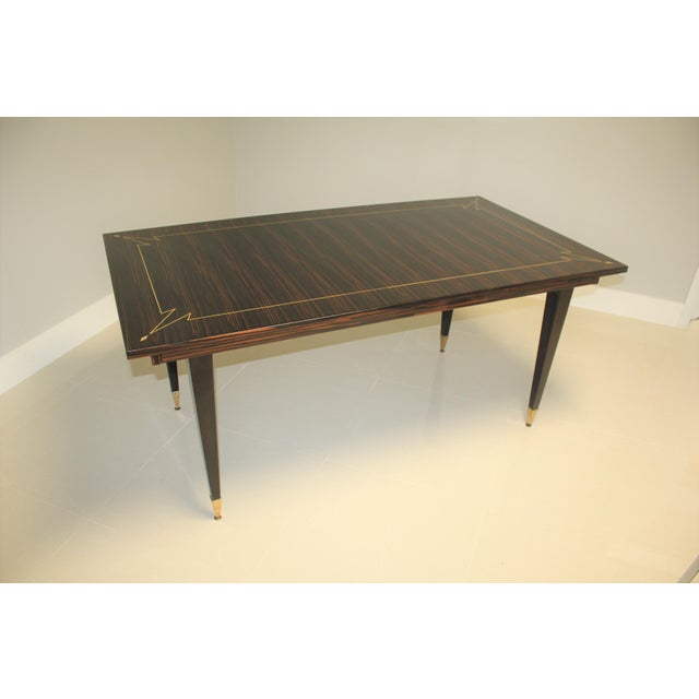 1940s French Art Deco Exotic Macassar Ebony Writing Desk / Dining Table For Sale In Miami - Image 6 of 13