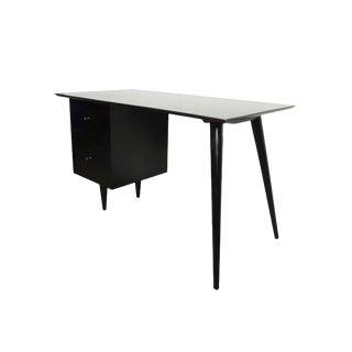 Mid-Century Modern Paul McCobb Planner Group Desk Black Tanker Desk For Sale