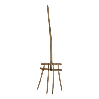 Antique Handcrafted Wooden Four Prong Pitchfork For Sale