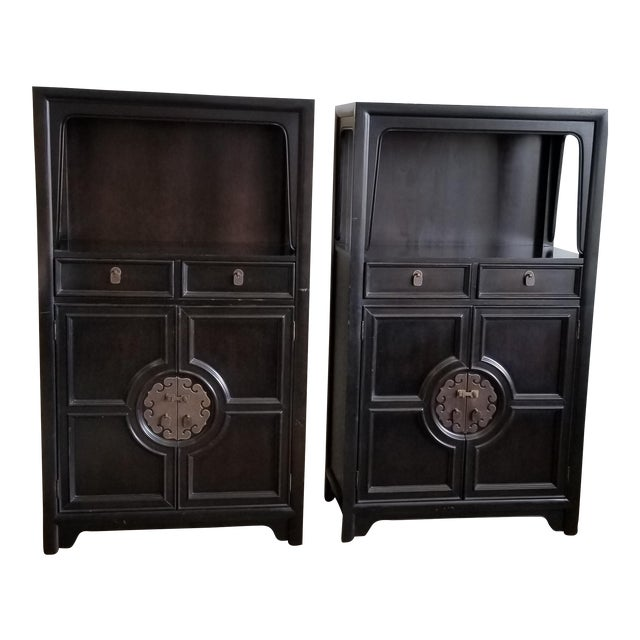 Vintage Century Furniture Black Dry Bar Cabinets With Brass Hardware - a Pair For Sale