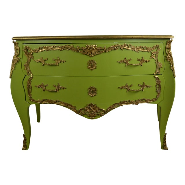 1980s Louis XV Style Green Commode For Sale