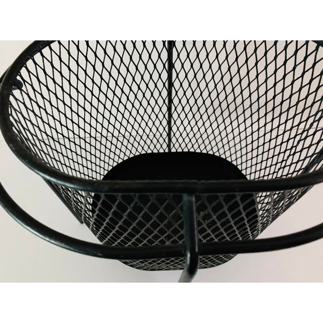 Black Maurice Duchin Floating Iron Mesh Wastebasket Trash Can For Sale - Image 8 of 12