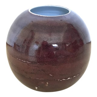 Round Clay Maroon Vase For Sale