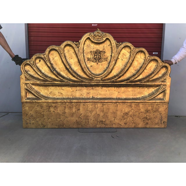 1960s 1960s Hollywood Regency Custom Furniture Builders Gold Leaf Gilt Headboard For Sale - Image 5 of 8