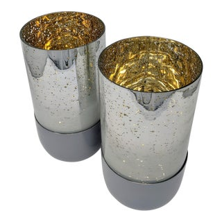 Mercury Glass Candle Holders - a Pair (2) For Sale