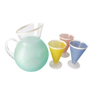1950's Pastel Frosted Glass Pitcher & Stem Glasses - 4 Piece Set For Sale