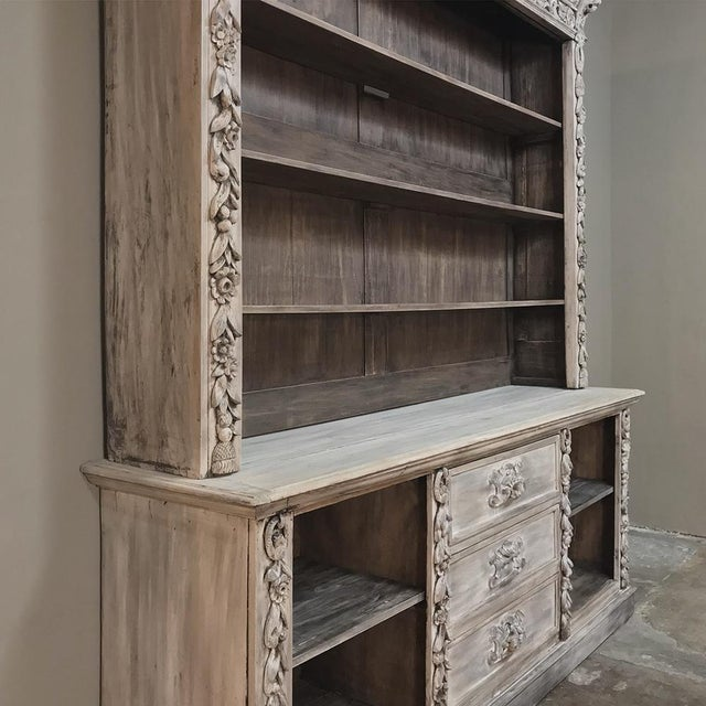 19th Century Grand Hand Carved Stripped Oak English Bookcase For Sale - Image 4 of 12