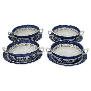 Mid-Century English Willow Bouillon / Soup Cups - Set of 4