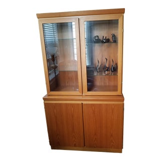 Midcentury Danish Modern Teak Curio Hutch by Skovby For Sale
