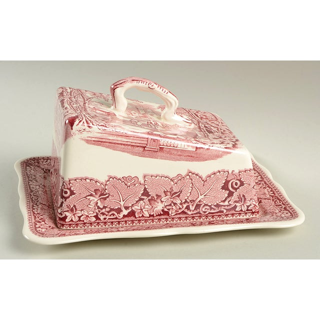 Red Mason's Vista Pink Large Cheese Dish With Lid For Sale - Image 8 of 8