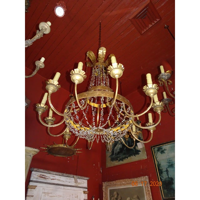 19th Century Italian Gilded Iron and Crystal Chandelier For Sale - Image 11 of 12
