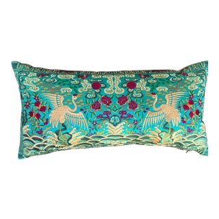 Hollywood Regency Turquoise Chinoiserie Boudoir Pillow For Sale