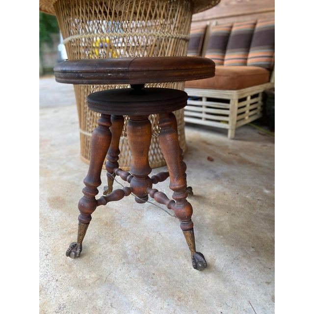 Victorian Antique Piano Stool With Glass Ball and Claw Feet For Sale In Birmingham - Image 6 of 6