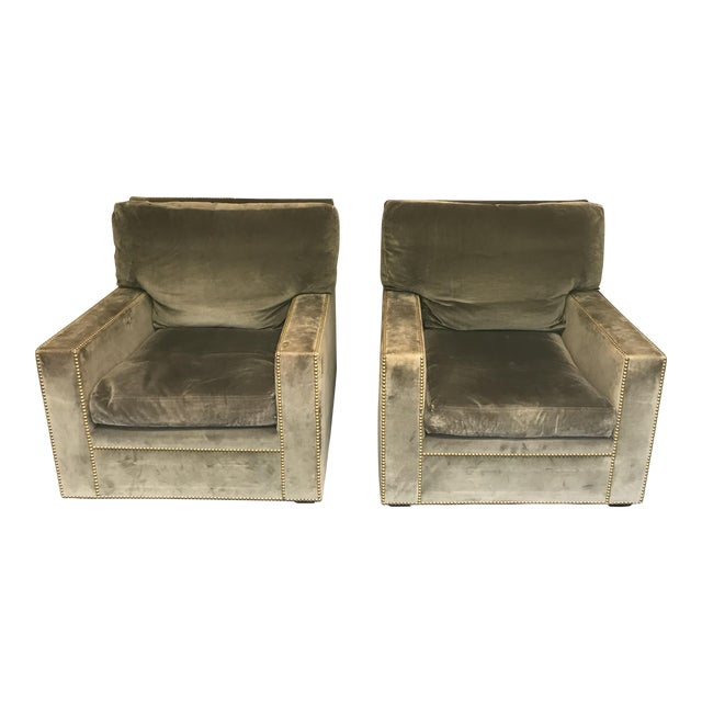Victoria Hagan/ Jaspar Natural/Mint Velvet Upholstered Club Armchairs - a Pair For Sale
